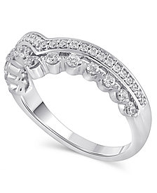 Certified Diamond (3/8 ct. t.w.) Contour Band in 14k White Gold