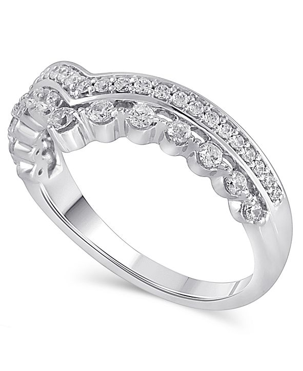 Macy's Certified Diamond (3/8 ct. t.w.) Contour Band in 14k White Gold