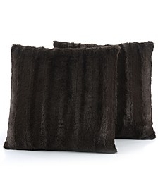 "Faux Fur 20"" x 20"" Throw Pillow Set"