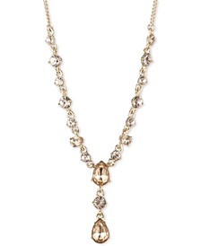 "Crystal Lariat Necklace, 16"" + 3"" extender"