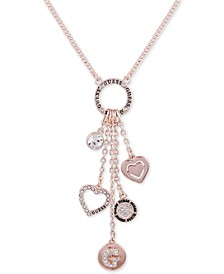 "Rose Gold-Tone Crystal, Heart & Logo Lariat Necklace, 30"" + 3"" extender"