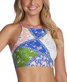 Juniors' Las Brisas Printed Shorebreak High-Neck Bikini Top