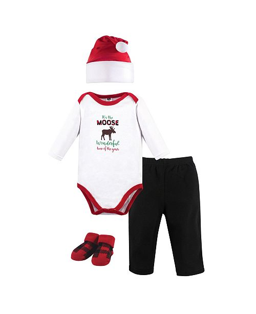 Hudson Baby Baby Boy Holiday Clothing 4 Piece Gift Set