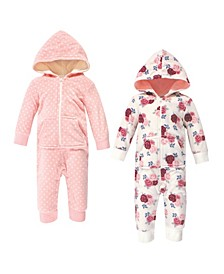 Baby Girl Fleece Coveralls and Jumpsuits, Set of 2
