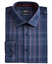 Men's Slim-Fit Yarn-Dyed Navy Blue/Gray Plaid Dress Shirt