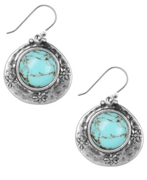 Lucky Brand Earrings, Silver-Tone Turquoise Drop Earrings