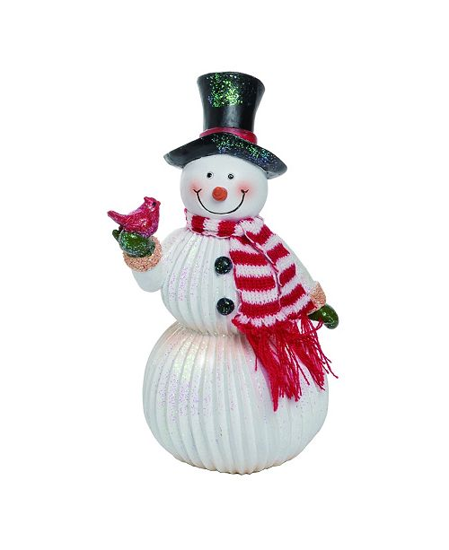 Trans Pac Resin Large White Christmas Cheerful Snowman