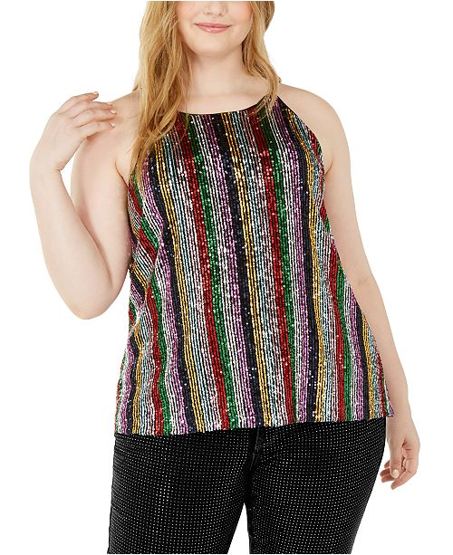 INC International Concepts INC Plus Size Sequin Striped Halter Top, Created For Macy's