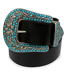 Frye & Co Embellished Western Buckle Crackle Leather Belt
