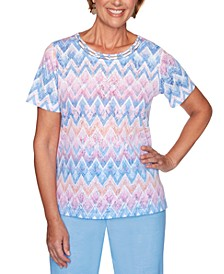 Garden Party Printed Lattice-Neck Top