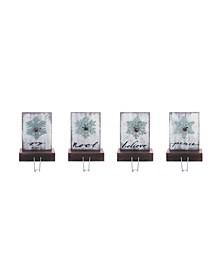 Wood White Christmas Snowflake Stocking Holder - Set of 4