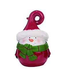 Terracotta Red Christmas Santa Snowman and Reindeer Figurine - Set of 3