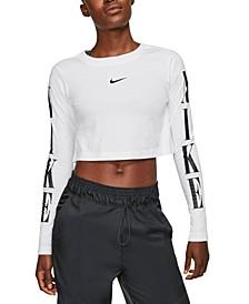 Sportswear Cotton Long-Sleeve Cropped T-Shirt