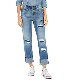 Style & Co Ripped Crop Straight Jeans, Created For Macy's
