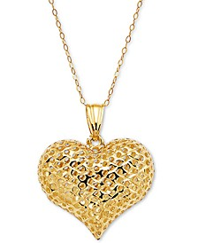 "Textured Puff Heart 18"" Pendant Necklace in 10k Gold"