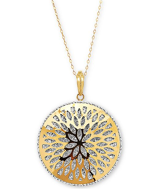 "Macy's Openwork Floral Burst Disc 18"" Pendant Necklace in 14k Gold & White Gold"