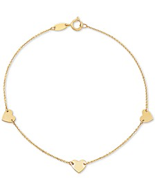 Polished Heart Link Bracelet in 10k Gold