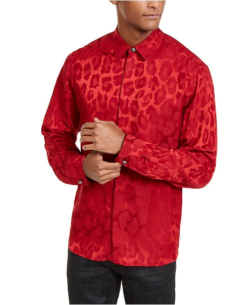 Just Cavalli Men's Tonal Leopard Spot Shirt