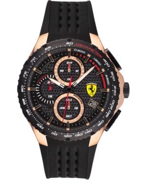 Men's Chronograph Pista Black Silicone Strap Watch 44mm