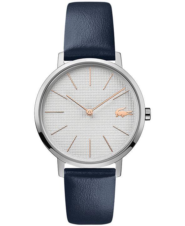 Lacoste Women's Moon Navy Blue Leather Strap Watch 35mm