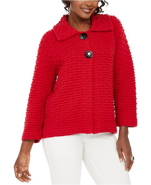 JM Collection Holiday Party Textured Sweater Jacket, Created for Macy's
