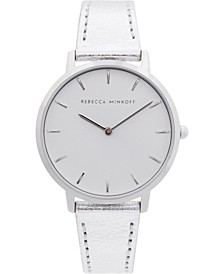 Women's Major Silver-Tone Metallic Leather Strap Watch 35mm