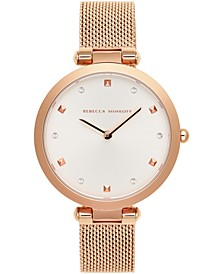 Women's Nina Rose Gold-Tone Stainless Steel Mesh Bracelet Watch 33mm