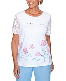 Petite Garden Party Floral-Embroidered Top