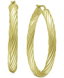 "Medium Twist Tube Hoop Earrings in 18k Gold-Plated Sterling Silver, 1.57"", Created for Macy's"
