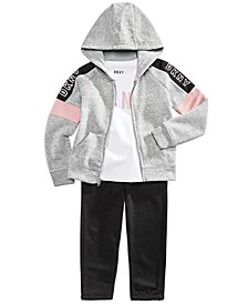 Toddler Girls 3-Pc. Colorblocked Hoodie, Logo-Print T-Shirt & Fleece Pants