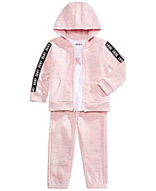 Little Girls 3-Pc. Fleece Hoodie, Logo-Print T-Shirt & Fleece Pants