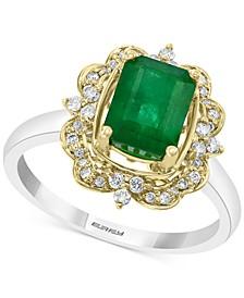 EFFY® Emerald (1-1/4 ct. t.w.) & Diamond (1/5 ct. t.w.) Ring in 14k Gold & White Gold