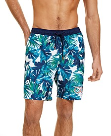 "Men's Hawaiian Quick-Dry UV 50+ Tropical-Print 7"" Swim Trunks, Created for Macy's"