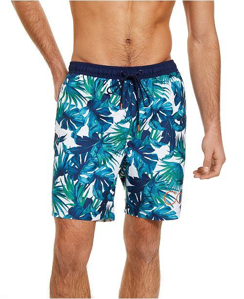 "Calvin Klein Men's Hawaiian Quick-Dry UV 50+ Tropical-Print 18"" Board Shorts, Created for Macy's"