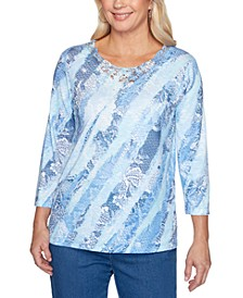Pearls of Wisdom Printed Lace-Neck Top