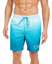 """Calvin Klein Men's Quick-Dry UV 50+ Ombré Stripe 7"""" Swim Trunks, Created for Macy's"""