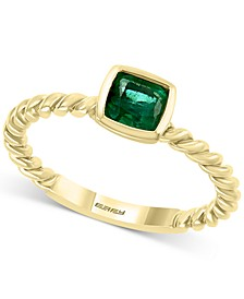 EFFY® Emerald Bezel-Set Rope Statement Ring (1/2 ct. t.w.) in 14k Gold