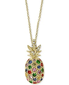 "EFFY® Multi-Sapphire (5/8 ct. t.w.) & Diamond (1/20 ct. t.w.) Pineapple 18"" Pendant Necklace in 14k Gold"
