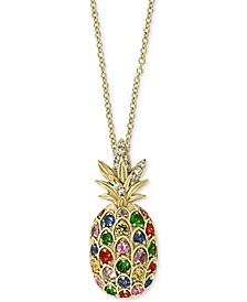 "EFFY® Multi-Sapphire (5/8 ct. t.w.) & Diamond (1/20 ct. t.w.) Pineapple 18"" Pendant Necklace in 14k Gold"