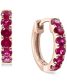 """EFFY® Certified Ruby Small Hoop Earrings (1/2 ct. t.w.) in 14k Rose Gold, 0.47"""""""