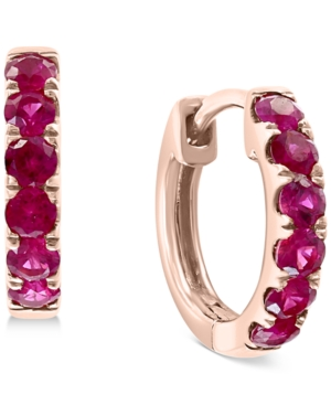 Effy Ruby Small Hoop Earrings (1/2 ct. t.w.) in 14k Rose Gold