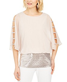 Rhinestone Lattice-Sleeve Blouson Top