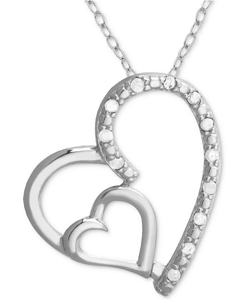 "Macy's Diamond Double Heart 18"" Pendant Necklace (1/10 ct. t.w.) in Sterling Silver"