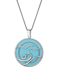 Magnifying Glass & Mirror Blue & Silver-Tone Pendant Necklace, 38""