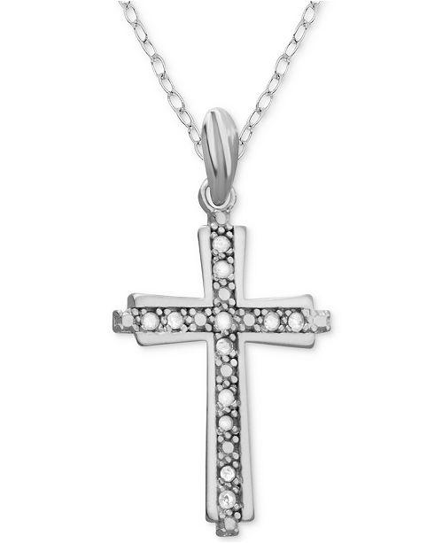 """Macy's Diamond Cross 18"""" Pendant Necklace (1/10 ct. t.w.) in Sterling Silver"""