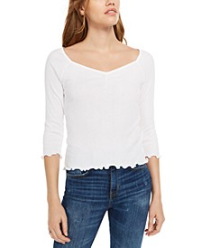 Juniors' Ribbed Sweetheart Top