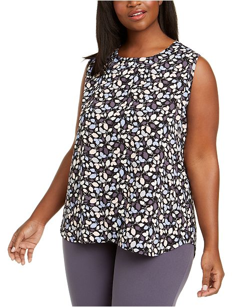 Anne Klein Plus Size Mayfair Printed Sleeveless Top