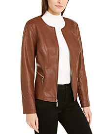 Faux-Leather Zip Jacket, Created For Macy's
