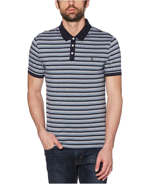 Original Penguin Men's Regular-Fit Stripe Jacquard Polo Shirt