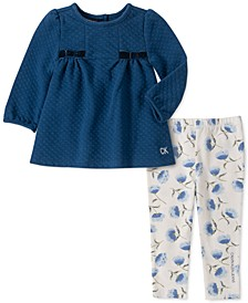 Baby Girls 2-Pc. Double-Knit Tunic & Floral-Print Leggings Set